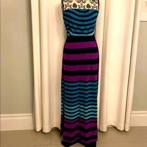 Express maxi dress turquoise purple striped navy